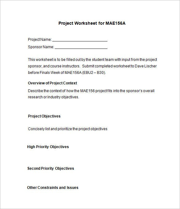 project worksheet for mae156a download
