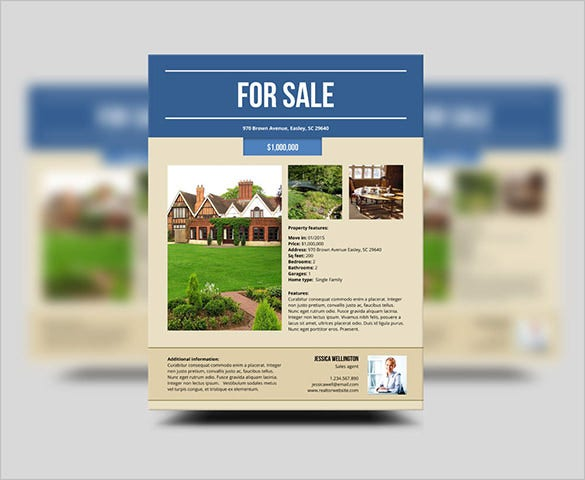 Stylish House For Sale Flyer Templates Designs Free - Template for selling a house