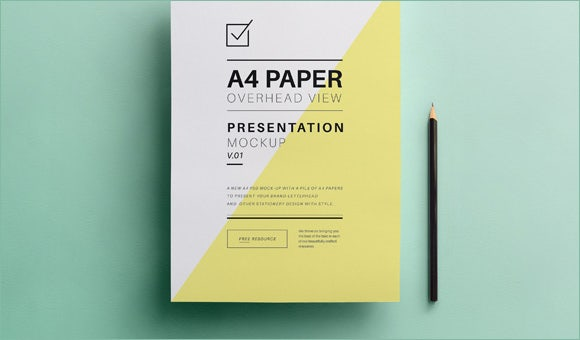 psd a4 paper mock up design