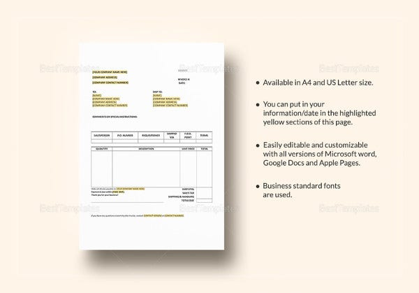 purchase invoice template in word