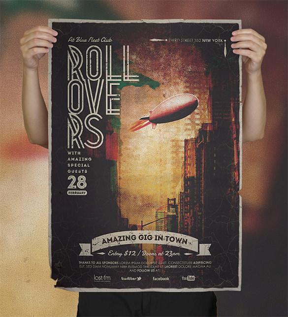pure design vintage concert psd poster