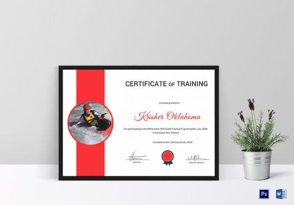 rafting certificate of participation template