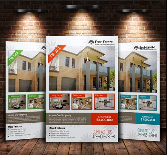 Stylish House For Sale Flyer Templates Designs Free - House for sale brochure templates free