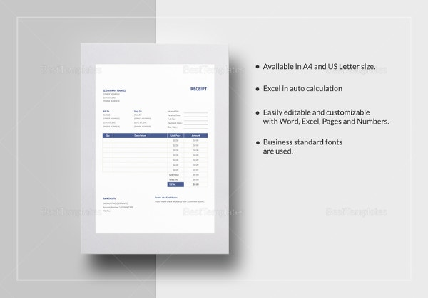 Business Receipt Template Word  Business Receipts Templates