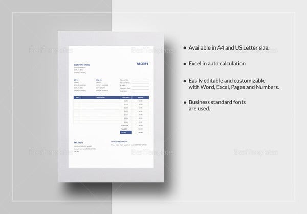 Invoice Receipt Template   Free Word Excel Pdf Format Download