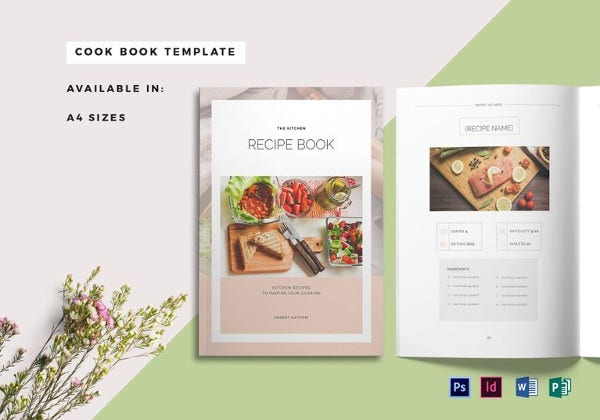 recipe book cover indesign template