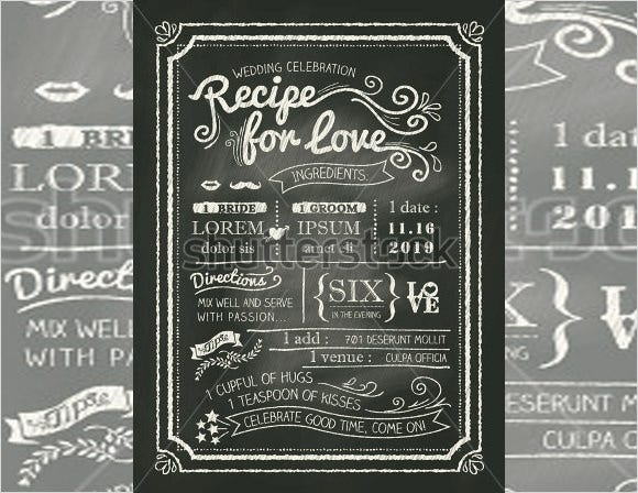 recipe chalkboard wedding invitation card template