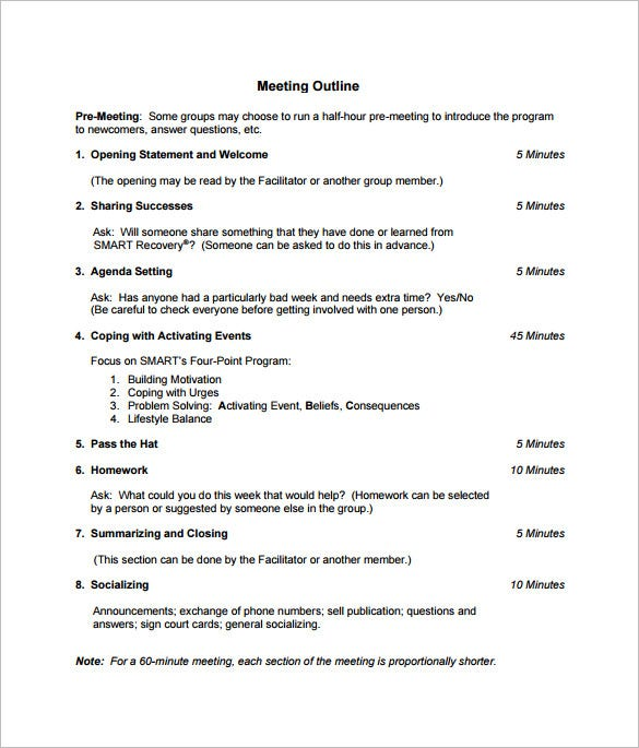 recommended meeting outline template free