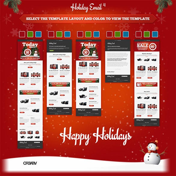 red background holiday email template