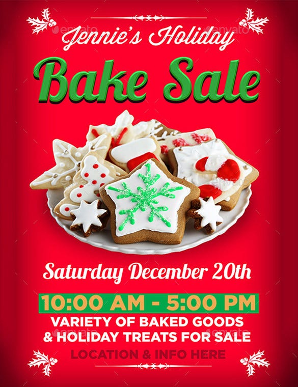 red colour designed bake sale flyer template