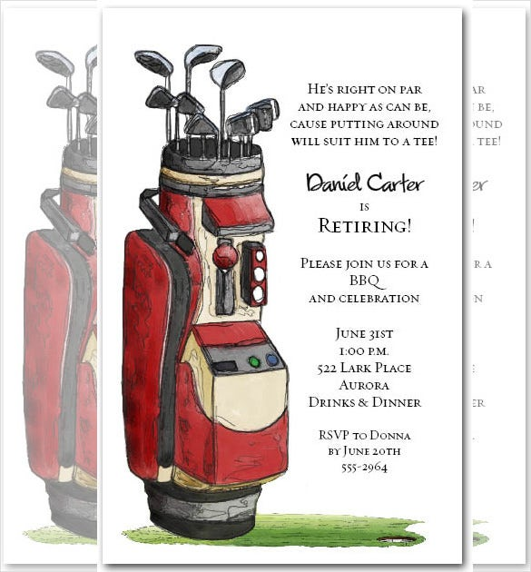 red golf bag party invitations design