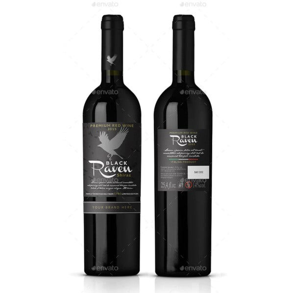 red wine label vector template