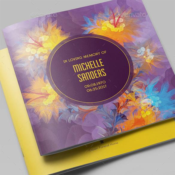 remember me funeral program brochure template