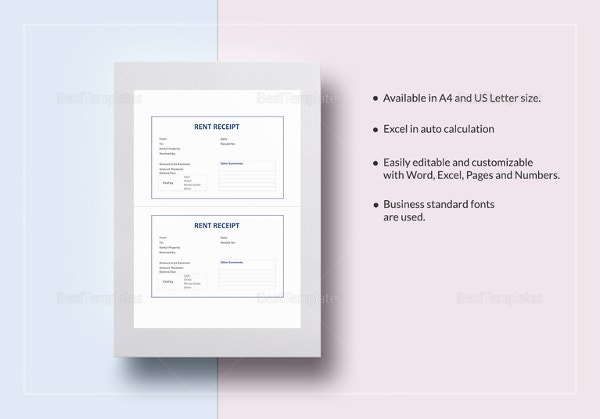 Rent Receipt Template 9 Free Word Excel PDF Format Download – Rental Receipt Template Excel