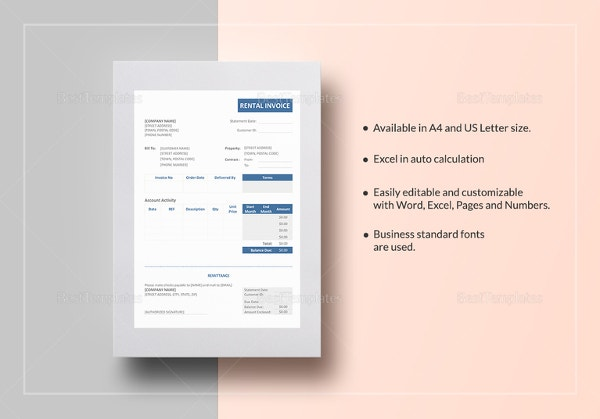 rental invoice template1