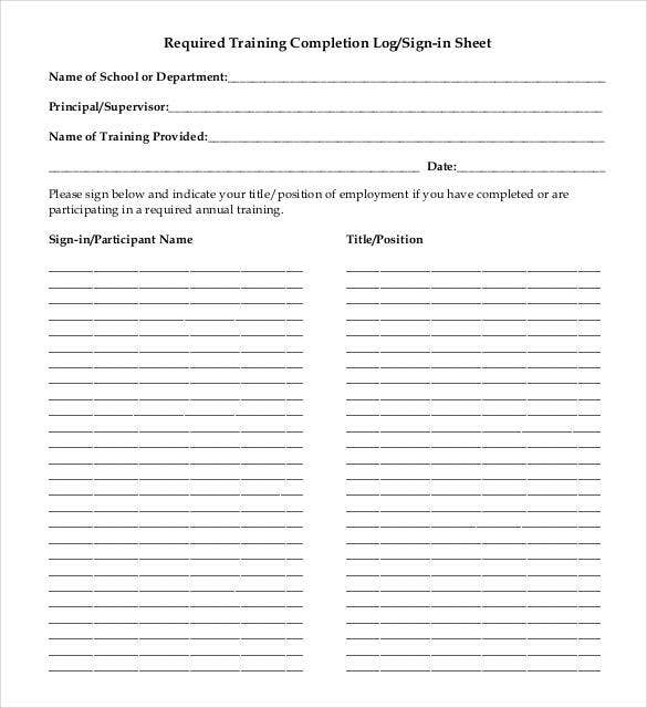 required training completion log sign in sheet template