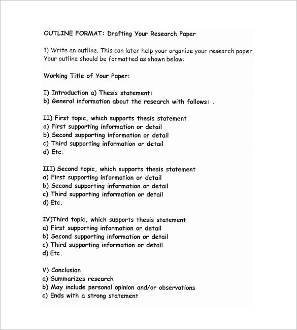 5 research outline templates free word pdf documents download - Example Of An Essay Outline Format