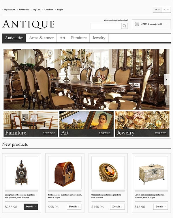 responsive antiques store magento theme