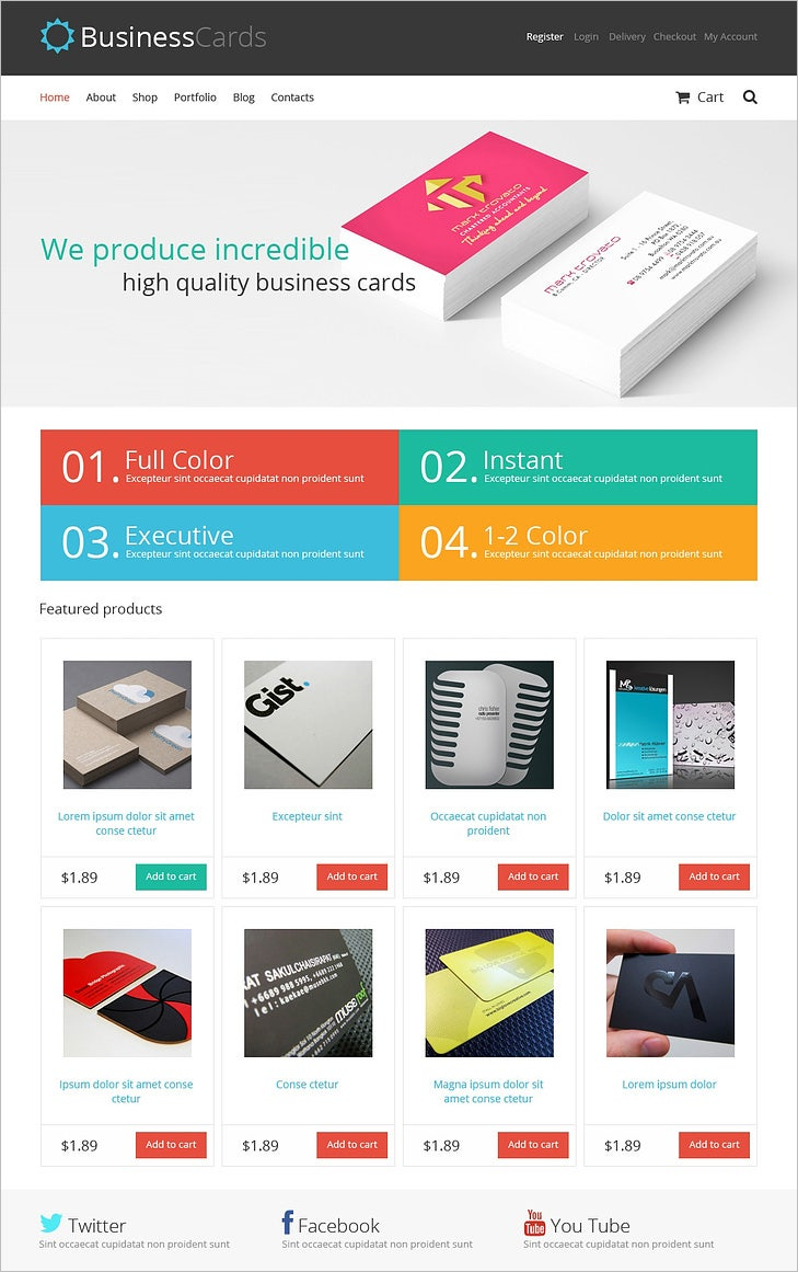 responsive business cards store woocommerce theme