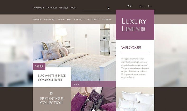 Responsive Home Page Luxury Linen Store Prestashop Theme