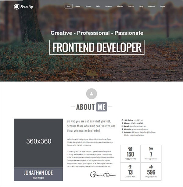 responsive one page vcard portfolio