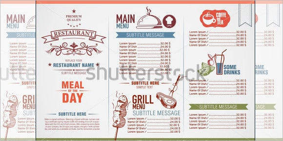 restaurant drinks menu design