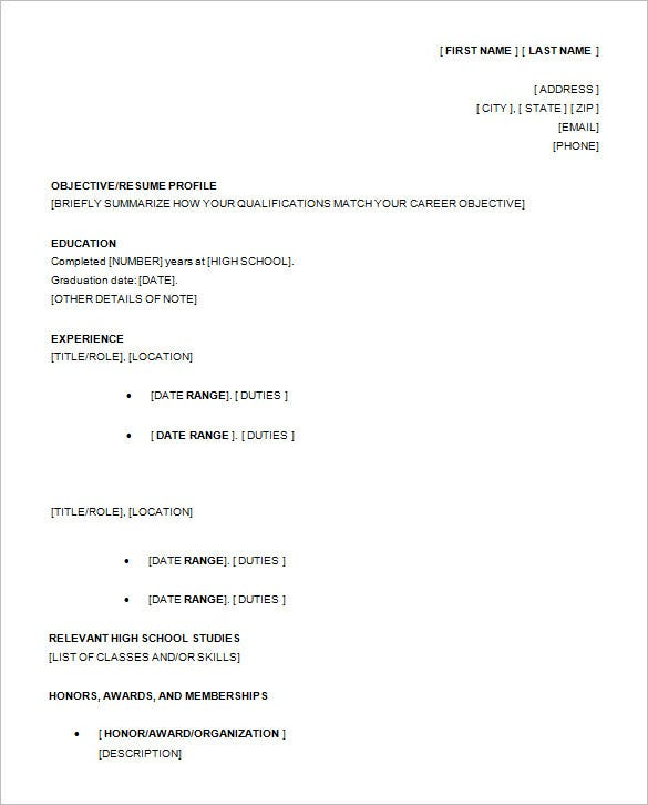 13 high school resume templates pdf doc free for Free resume for high school student