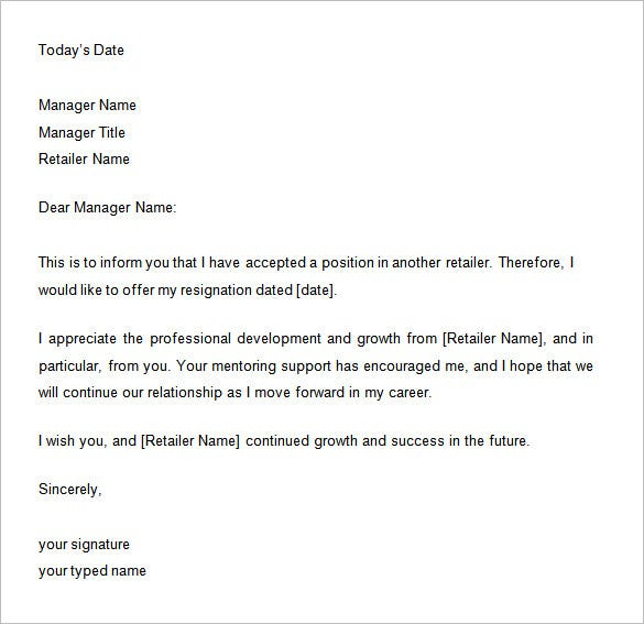 retail resignation two week notice letter
