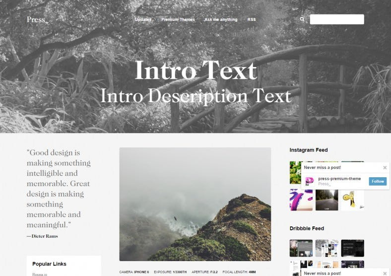 Retina Ready Premium Blogging Themes