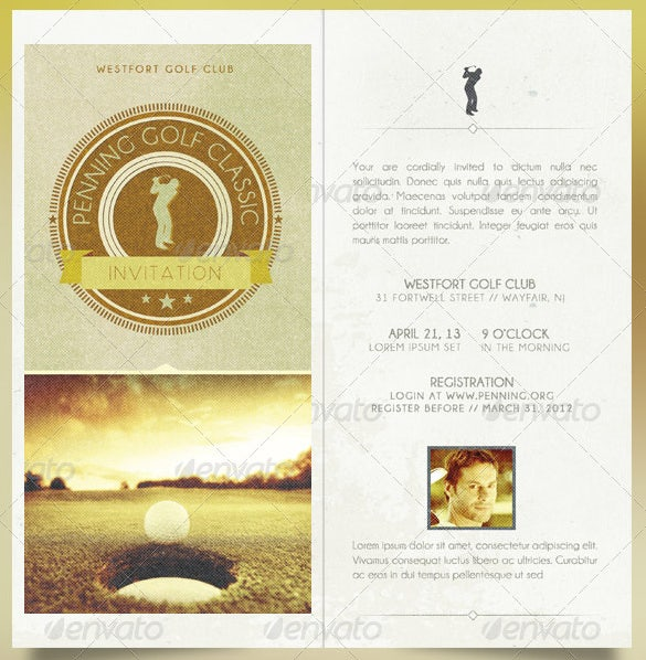 retro golf invitation card template psd