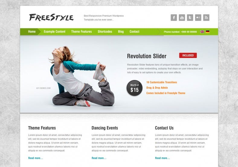 Revolution Slider Included Yoga Wordpress Theme