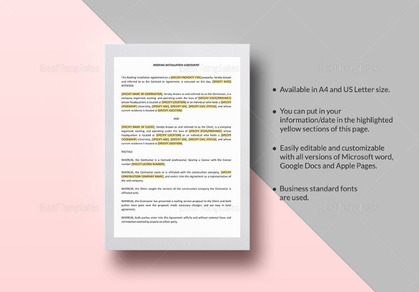 Captivating Roofing Contract Template In Google Docs, Pages For Mac