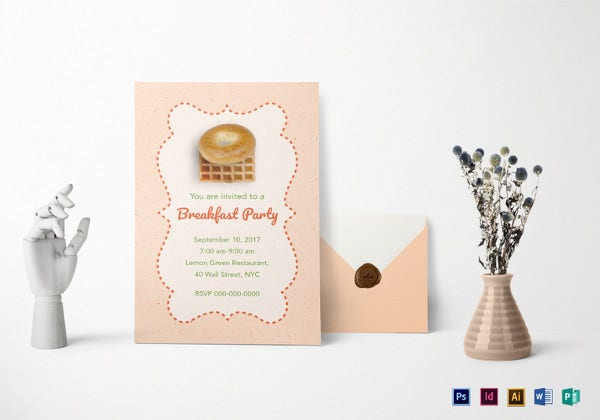 rose pink breakfast party invitation template