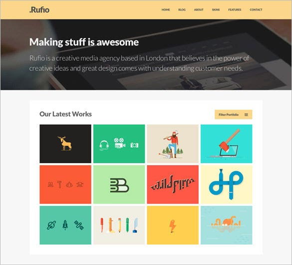 rufio free psd website template
