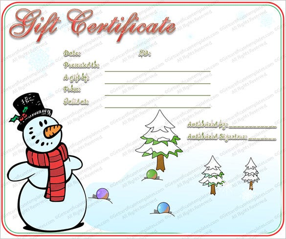 Snowman Christmas Gift Certificate Template Regard To Free Christmas Voucher Template