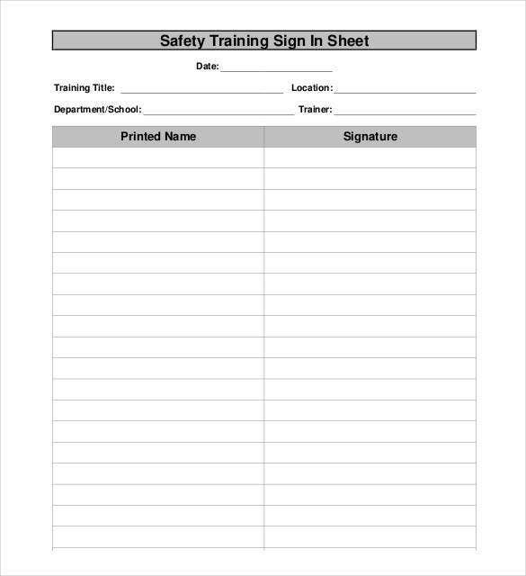 safety training sign in sheet