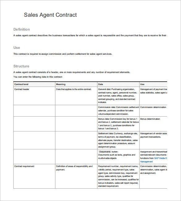 Sales Agent Agreement Template sales agency agreement contract – Agent Contract Agreement