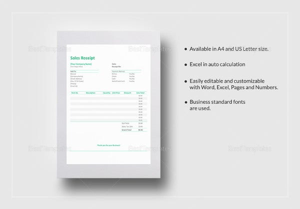 sales receipt excel template