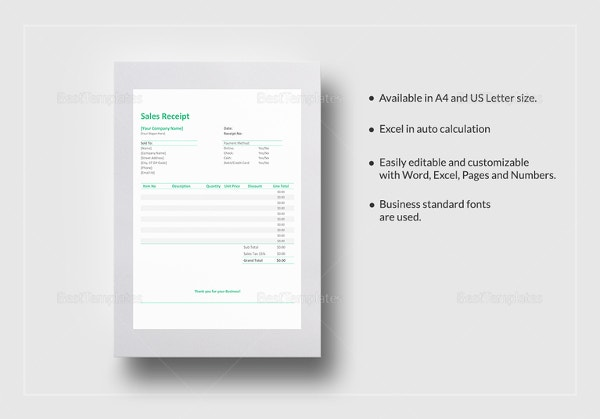 Sales Receipt Template 20 Free Word Excel PDF Format – Free Printable Sales Receipt