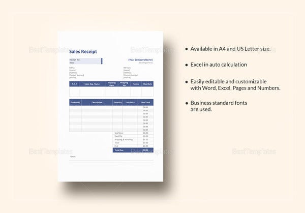 sales service receipt template