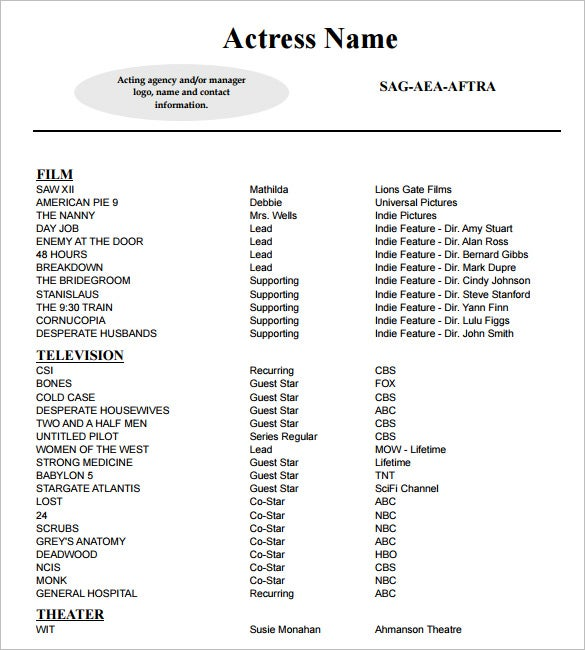 Delightful Sample Acting Resume Template PDF