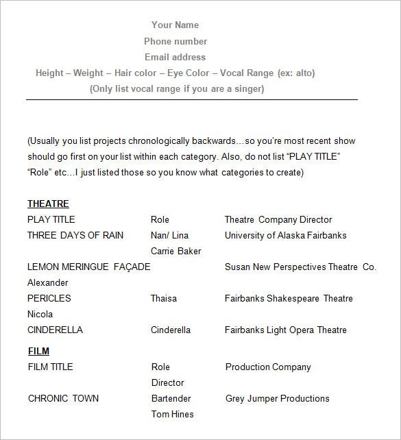 Sample Acting Resume Template  Actors Resume Samples