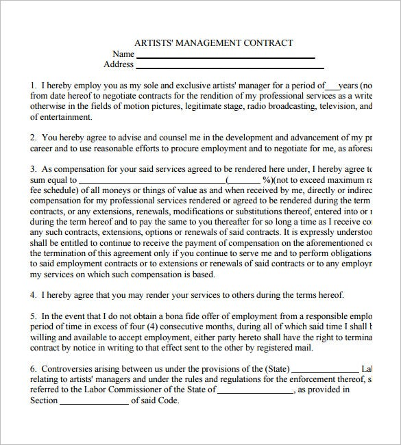Artist Management Contract Templates  Free Pdf Word Documents