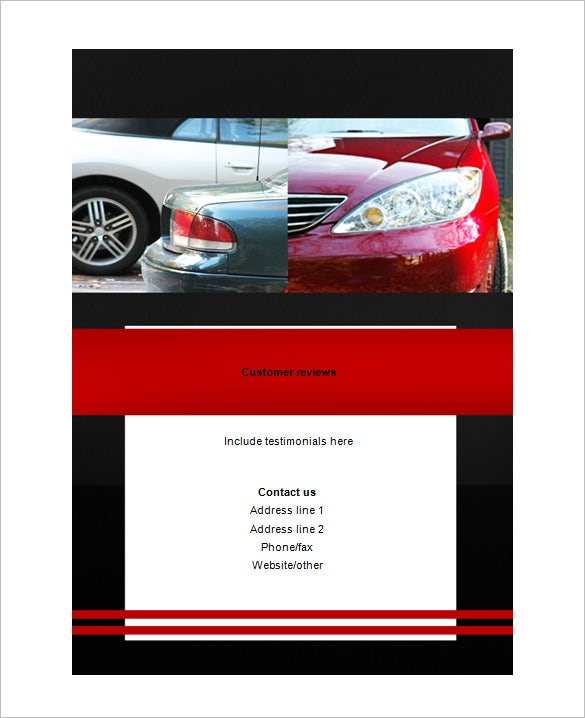 sample auto bi fold brochure template
