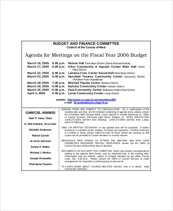 sample budget and finance committee meeting agenda1