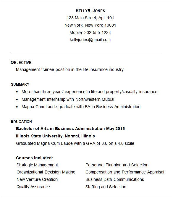 Sample Business Administration Resume Template