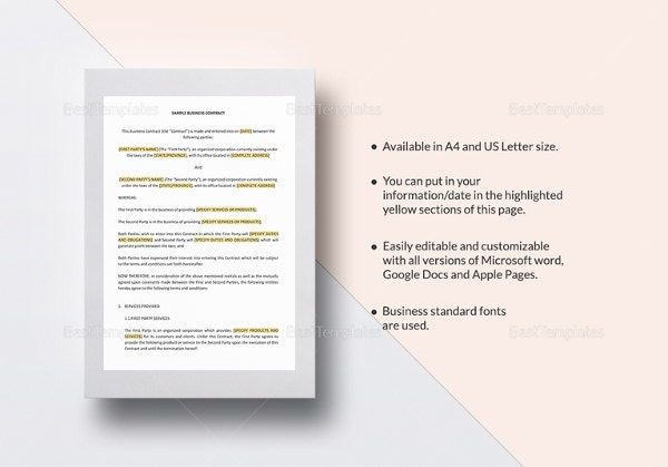 Sample Business Contract Template In Word, IPages  Free Business Contract Templates