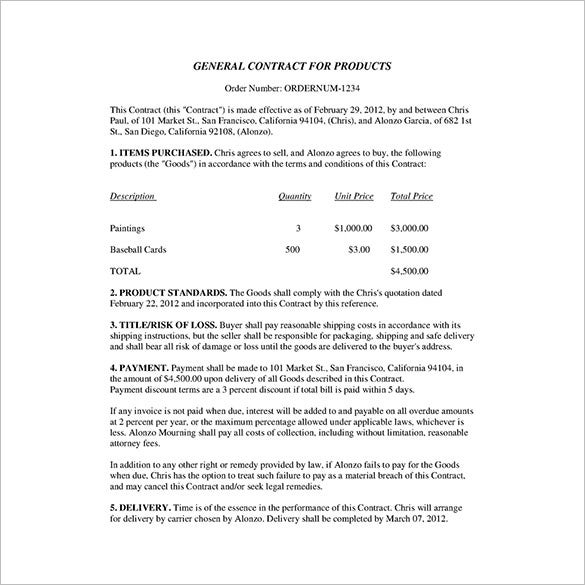 sample business contract for products