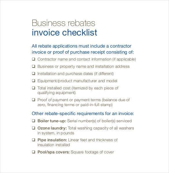 sample-business-rebates-invoice-checklist-template