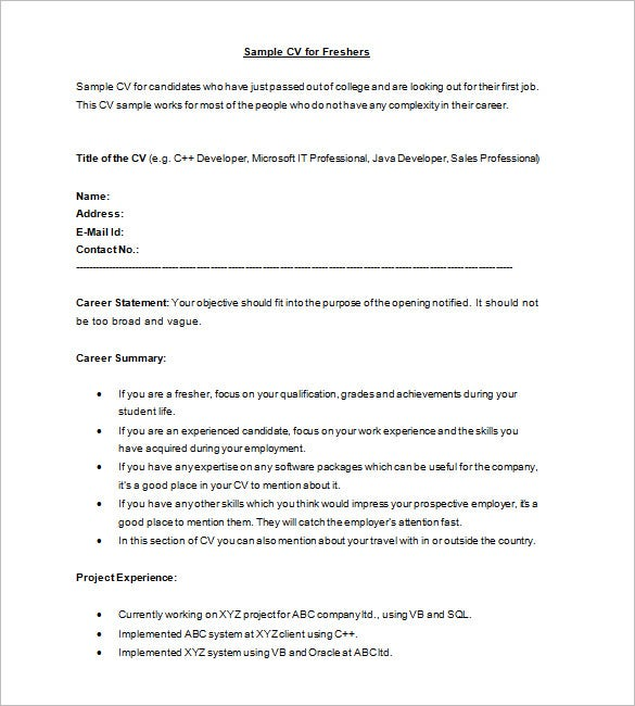 sample cv format for freshers - Formatted Resume Template